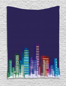 City at Night Cartoon Tapestry