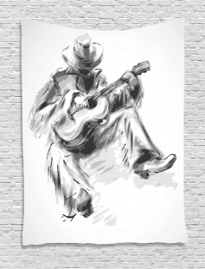 Cowboy and Guitar Eastern Tapestry