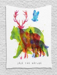 Alaska Animals Bear Wolf Tapestry