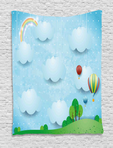 Balloons Clouds Stars Hill Tapestry