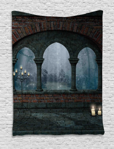 Medieval Castle at Night Tapestry