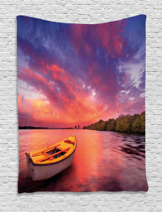 Sea Coast with a Rowboat Tapestry