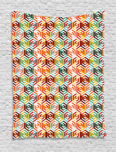 Hexagonal Shape Retro Tapestry