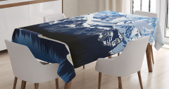 Mountain with Snow View Tablecloth