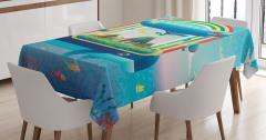 Whale Rainbow Ocean Art Tablecloth