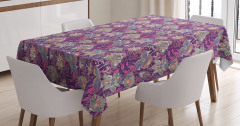 Flowers and Asian Mehndi Tablecloth
