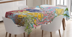 Sketchy Sea Coral Reefs Tablecloth