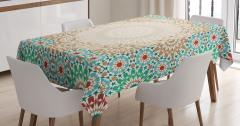 Antique Floral Mosaic Form Tablecloth