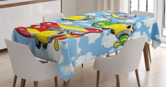 Kids Cute Airplanes Sky Tablecloth