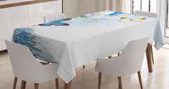 Exotic Flowers Pond Tablecloth