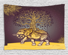 Asian Elephant in Nature Wide Tapestry