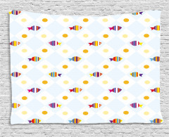 Fish Cartoon with Spots Wide Tapestry