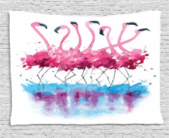 Lovely Flamingo and Bird Wide Tapestry