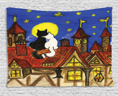 Two Lover Cats with Sky Wide Tapestry