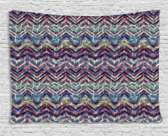Abstract ZigZag Chevron Wide Tapestry