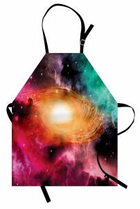 Rengarenk Uzay Temalı Mutfak Önlüğü Galaksi ve Gökyüzü