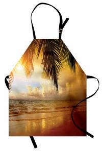 Sahilde Gün Batımı Mutfak Önlüğü Deniz Kumsal