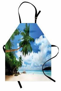 Issız Ada Manzaralı Mutfak Önlüğü Plaj Mavi Deniz