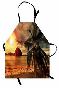 Plajda Gün Batımı Mutfak Önlüğü Deniz Güneş Dağ