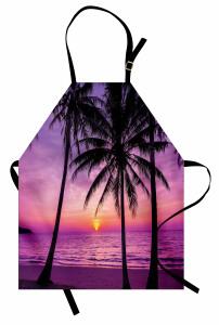 Mor Gün Batımı Palmiye Mutfak Önlüğü Mor
