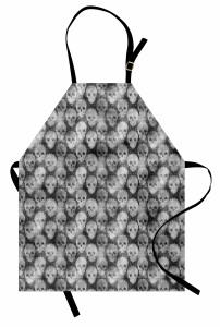 El Örgüsü Etkili Mutfak Önlüğü Siyah Beyaz Kuru Kafa