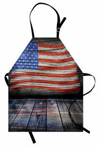 Ahşap Görünümlü Mutfak Önlüğü ABD Bayrağı Desenli