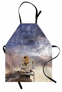 Leopar ve Gökyüzü Mutfak Önlüğü Huzur Verici