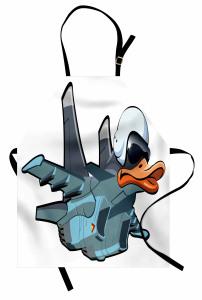 Pilot Ördek Desenli Mutfak Önlüğü Gri Mavi Dekoratif