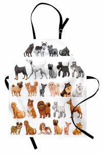 Gri ve Kahve Köpekler Mutfak Önlüğü Dekoratif Trend