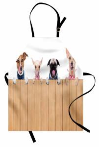 Çit Ardındaki Köpekler Mutfak Önlüğü Bej Kahverengi