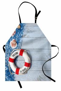 Deniz Kabuğu ve Can Simidi Temalı Mutfak Önlüğü Mavi