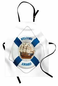 Gemi ve Can Simidi Temalı Mutfak Önlüğü Beyaz