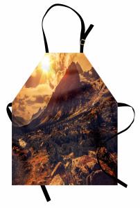 Dağa Yansıyan Güneş Manzaralı Mutfak Önlüğü Bulutlar