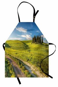 Huzurlu İtalya Manzarası Mutfak Önlüğü Ağaçlar Yeşil