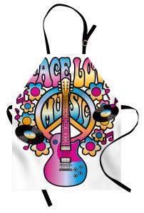 Aşk Barış ve Müzik Mutfak Önlüğü Rengarenk