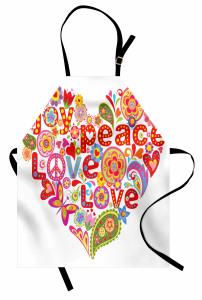 Çiçek Dolu Kalp Temalı Mutfak Önlüğü Hippi Etkili