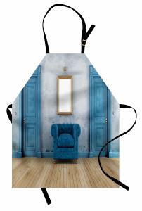 Mavi Ahşap Kapı ve Ayna Mutfak Önlüğü Şık Tasarım