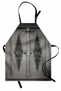 Ahşap Antik Kapı Desenli Mutfak Önlüğü Dekoratif