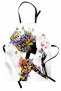 Kelebekli Kız Desenli Mutfak Önlüğü Rengarenk Trend