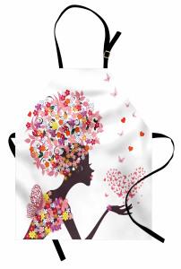 Pembe Kelebekli Kız Mutfak Önlüğü Kalpli Trend