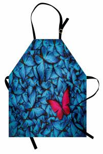 Mavi ve Kırmızı Kelebek Desenli Mutfak Önlüğü Çeyizlik