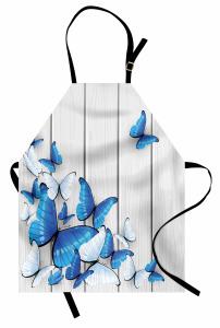 Mavi ve Beyaz Kelebek Desenli Mutfak Önlüğü Ahşap Fon