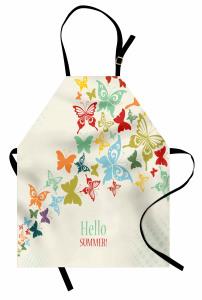 Rengarenk Kelebek Desenli Mutfak Önlüğü Hoş Geldin Yaz