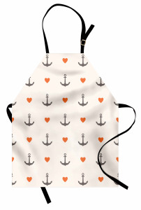 Çapa ve Turuncu Kalp Desenli Mutfak Önlüğü Beyaz Zemin