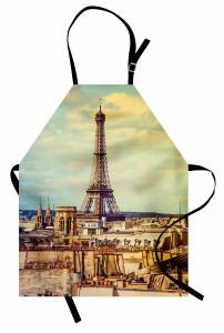 Eyfel Kulesi Manzaralı Mutfak Önlüğü Paris Temalı Şık