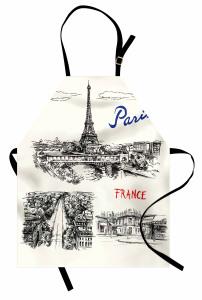 Paris Temalı Mutfak Önlüğü Elle Çizim Şık Tasarım