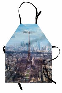 Paris ve Gökyüzü Temalı Mutfak Önlüğü Şık Tasarım
