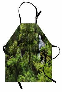 Ormandaki Şelale Temalı Mutfak Önlüğü Yeşil Ağaç Doğa