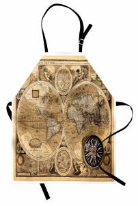 Dünya Haritası Temalı Mutfak Önlüğü Antika Nostaljik