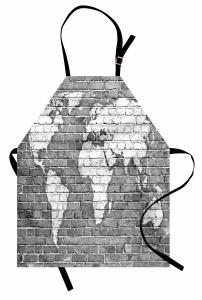Klasik Dünya Haritası Mutfak Önlüğü Antik